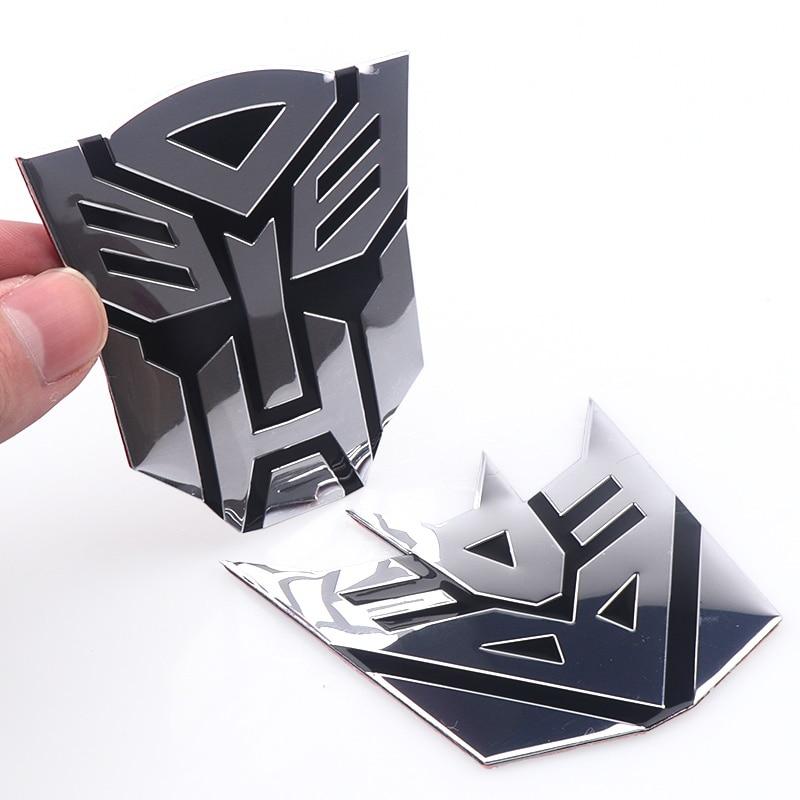 Car Styling 3D Aluminum Autobot Transformers Emblem Car Badge Rear Trunk Body Decoration Sticker For Mobile Phone Laptop Decals