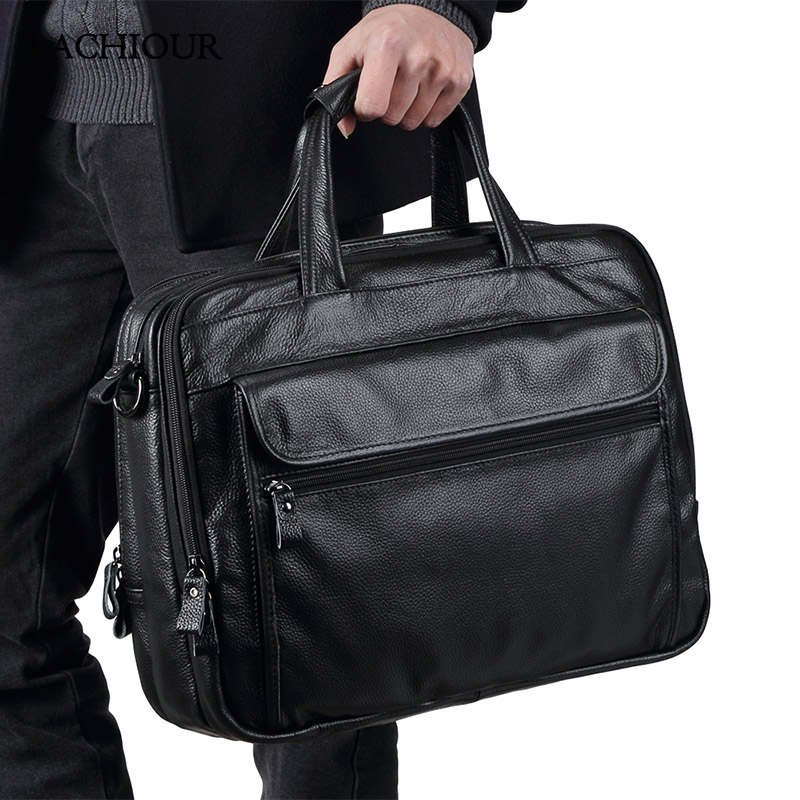 Large Men Leather Handbgs Male Genuine Leather Business Travel Brifcases Bag Men's 15.6 Inch Laptop Shoulder Bag Business A4 Bag
