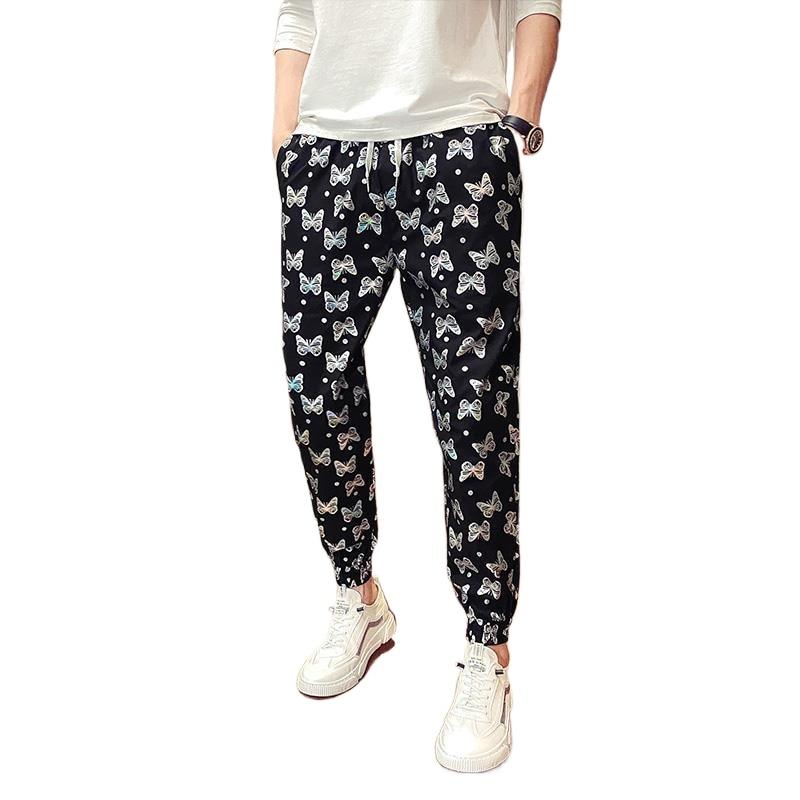 Pants men's summer Korean fashion men's Corset casual butterfly print Capris and slacks thin Beach pants fashion White Black