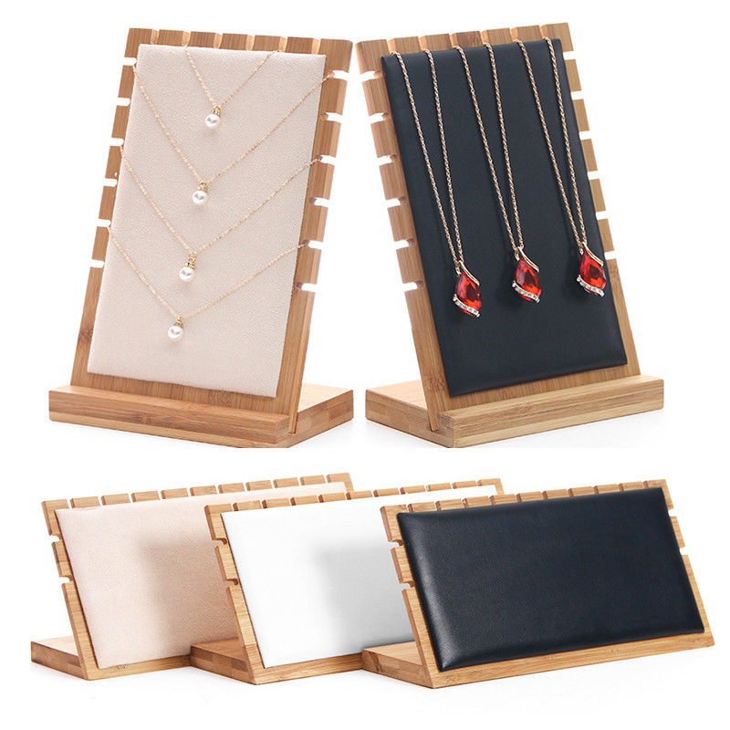 Bamboo Jewelry Pendant Necklace Display Holder Rack Organizer Storage Case