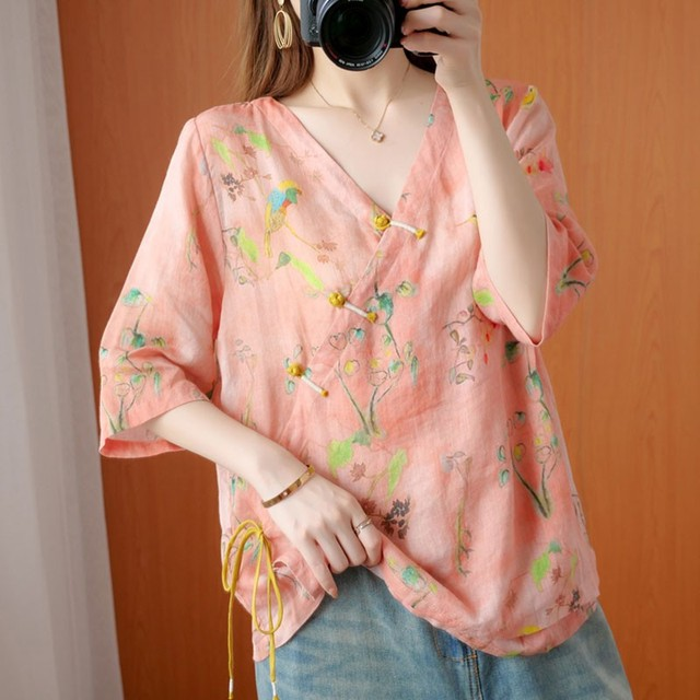 Oversized Women Cotton Linen Blouses Shirts New 2020 Summer Vintage Style V-neck Floral Print Female Loose Casual Tops S1668 3