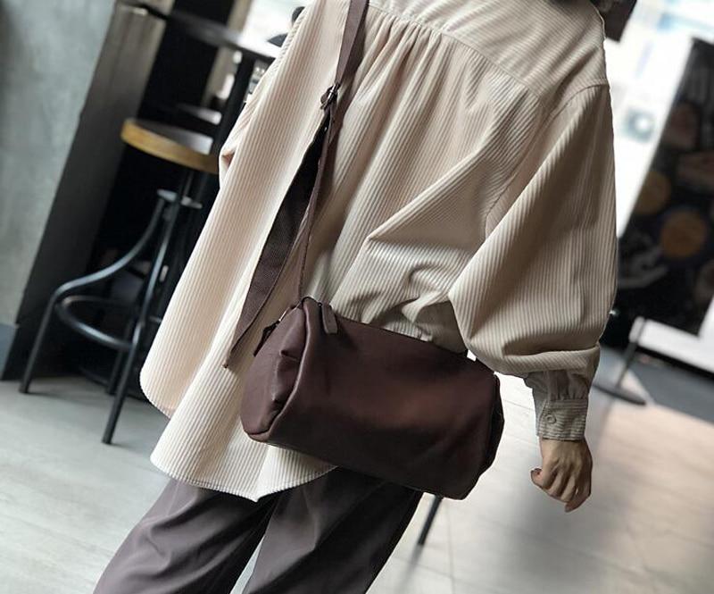 couro genuíno macio retro senhora tamanho médio