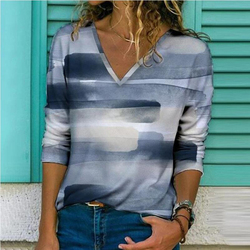 Graffiti Print Elegant Women Blouse Shirt 2021 Spring V-Neck Long Sleeve Pullover Tops Ladies Loose Plus Size Streetwear Blusa