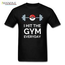 Pokemon GS Bodybuilding T Shirt Weightlifting Black Letter Print Fashion Funny Tshirts Pikachu Gengar New Shirts Boy