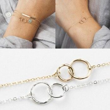 ROXI-pulsera de plata de ley 925 con doble anillo y abalorio circular, para mujeres