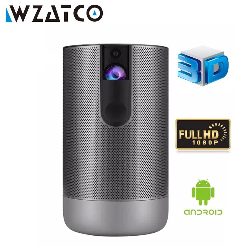 Умный 3D-проектор WZATCO D2, Full HD, 1920x1080, Android 7,1, 5G wifi, 300 дюйма, Φ, поддержка видеоигр 4K, светодиодный проектор