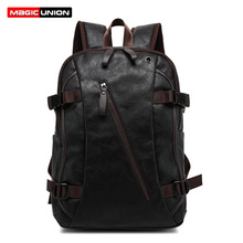 MAGIC UNION Men Oil Wax Leather Backpack Mens Casual Backpack & Travel Bags Western College Style Man Backpacks Mochila Zip Men