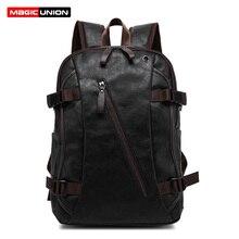 Magic union mochila masculina de couro, mochila masculina casual de couro encerado, estilo de viagem para faculdade zíper masculino