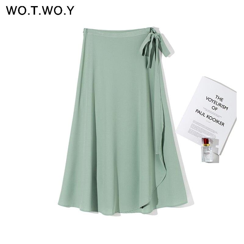 WOTWOY High Waist Lace-Up Casual Skirt Women Split A-Line Loose Skirts Women Sashes Mid-Long Solid Faldas Femme 2020 Summer New