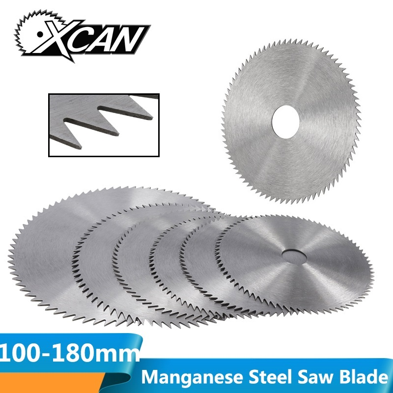 XCAN 1pc 100/110/125/150/180mm 60/75/80Teeth Manganese Steel Circular Saw Blade Power Tool Accessories Wood Cutting Disc image