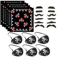Behogar 12 pièces barbes 6 pièces foulard 6 pièces patch oculaire Pirate capitaine Costume accessoires fournitures pour Halloween fête mascarade
