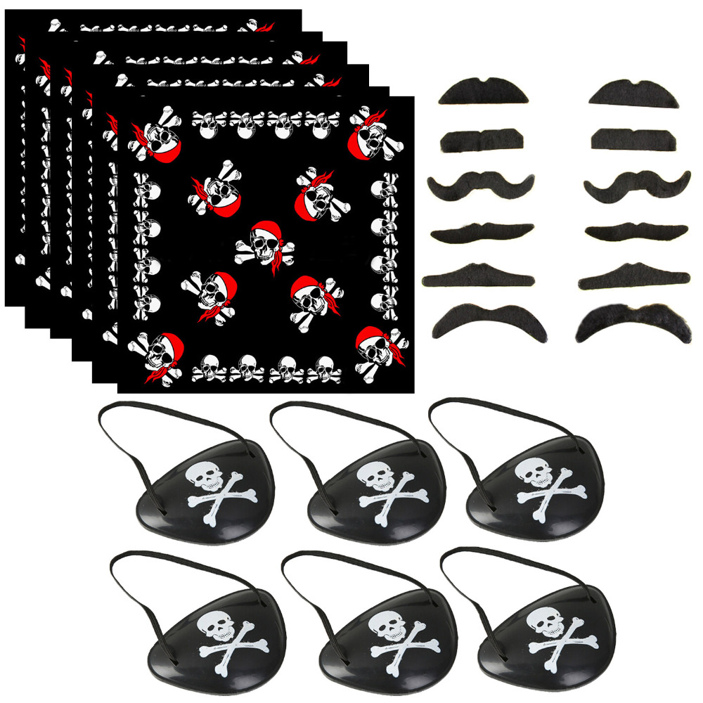 Behogar-foulard 12 pièces, barbes 6 pièces, bandeau, patch pour les yeux, capitaine Pirate, fournitures pour Halloween, mascarade