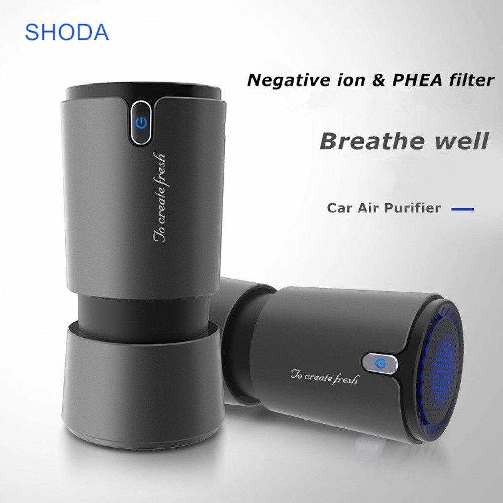 Purificador de aire de coche SHODA con filtro de iones negativos Hepa, purificador de aire de cigarrillo ionizador de cigarrillo portátil de diseño USB para coche