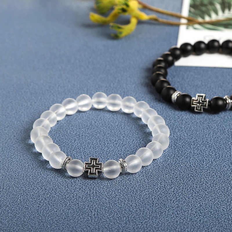 JD Charm bransoletka z syntetycznego kamienia krzyż czarne gładkie okrągłe bransoletki z koralików Handmade mężczyźni kobiety modlitwa Fitness Chain prezent dla par