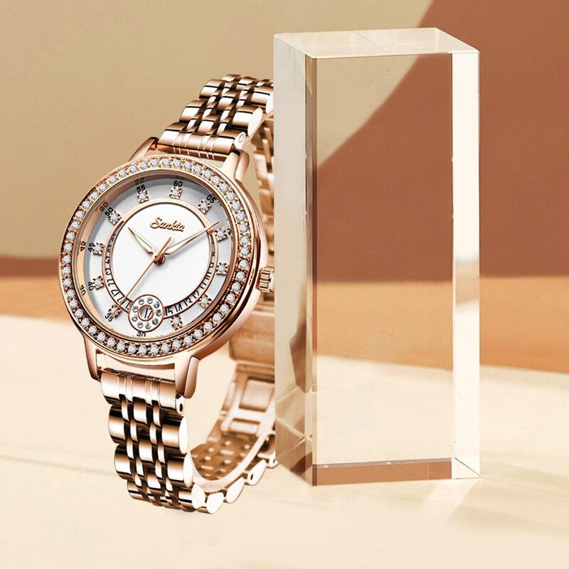 SUNTKA Classic Women Bracele Watches Top Luxury Brand Watches For Women Dress Waterproof Rose Gold Ladies watch relogio feminino