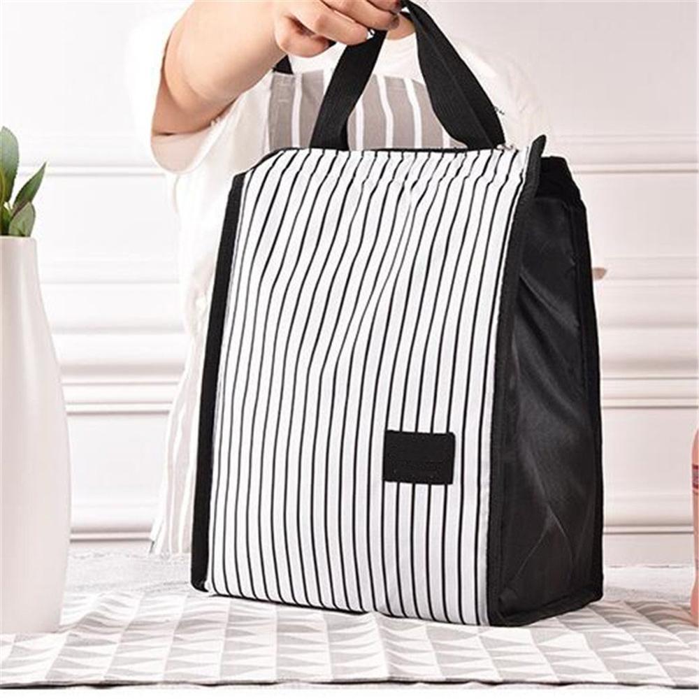 Лучшая, черно-белые полосы, переносные Термосумки для обеда, для женщин и мужчин, кулер для еды, для пикника, изолированная сумка, контейнер для хранения - Цвет: white