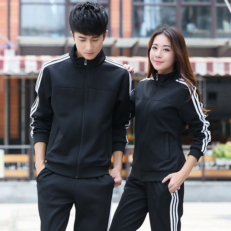 Spring And Autumn New Style Couples Youth Women's Three Bars Hoodie MEN'S Sport Suit Running Sports Will Stand Collar Business A