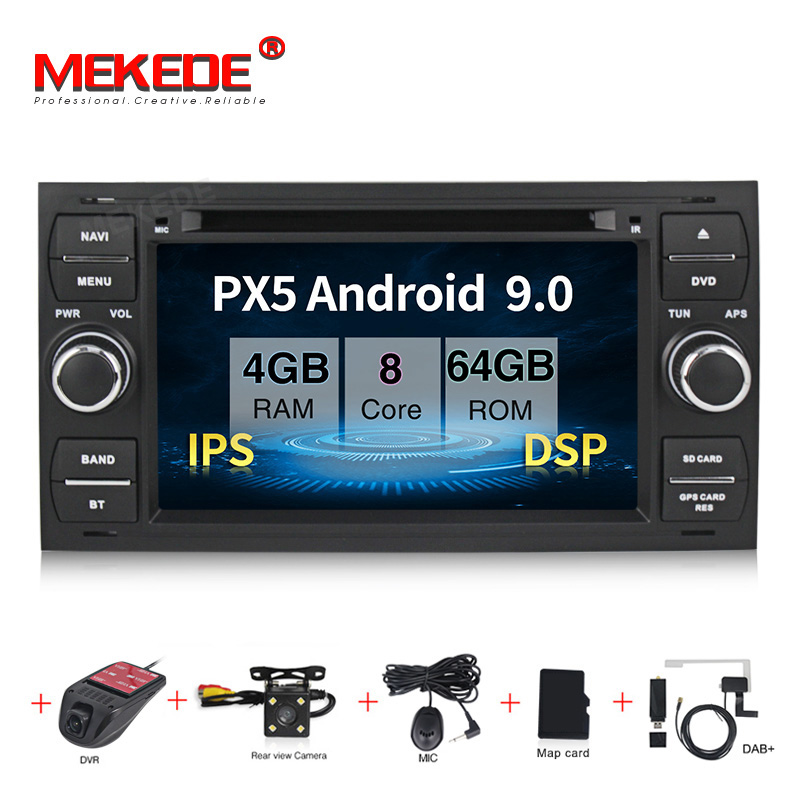 MEKEDE Pure Android 9.0 Car DVD <font><b>GPS</b></font> Player Stereo Radio Audio For <font><b>Ford</b></font> <font><b>Focus</b></font> 2 Mondeo S <font><b>C</b></font> <font><b>Max</b></font> Fiesta Galaxy Connect IPS+DSP image