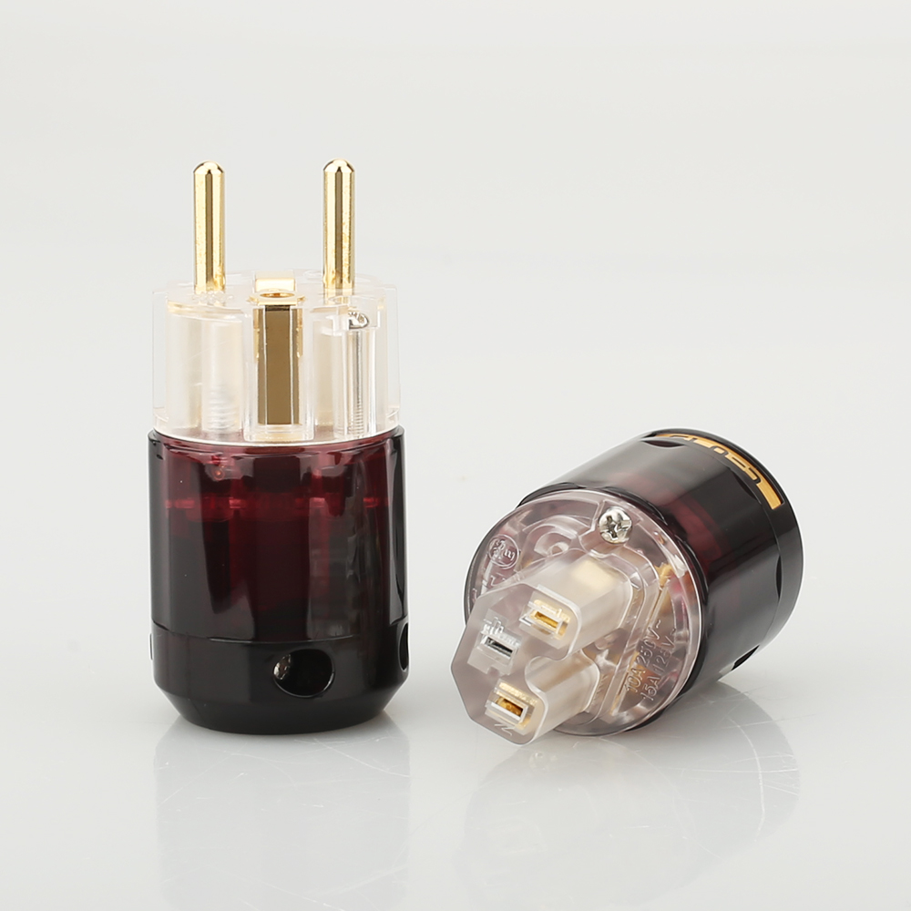 Free Shipping One Pair 24k Gold-Plated P-079E Schuko EU Plug+C-079 IEC Female Connector For Audio DIY