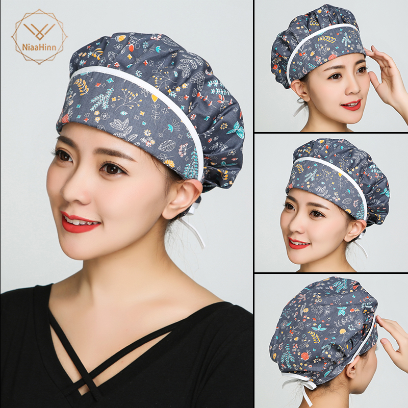 New Hospital Pet Clinic Beauty Salon Doctor Man Woman Surgical Cap Scrub Cap Absorb Sweat Adjustable Long Hair Nurse Scrub Hats