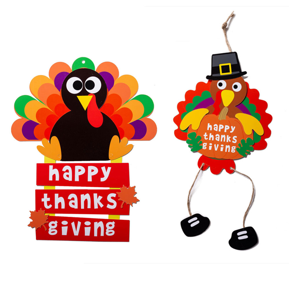 Kids DIY Handmade Paper Toys Thanksgiving Turkey Door Hanging Kindergarten Children's Decoration Dress Up Sticker Paper Toys
