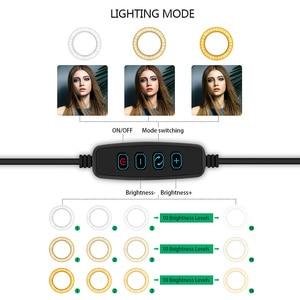 Image 5 - 6/8/10 インチ led リングライト iphone xs 最大 8 7 6 スマートフォン写真撮影メイク 3200  5600 18k 輝度調節可能な三脚スタンド