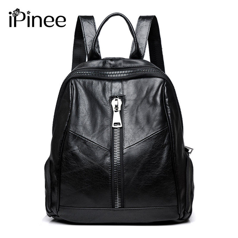 iPinee New Fashion Woman Backpack Cow Leather Travel Bag High Quality Schoolbag Backpack Elegant Mochilas Escolar Feminina