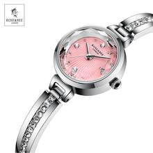 2021 New Arrival Fashion Rose&Bee Women's' Rhinestones Wristwatches Silver Pink Japan Quartz Ladies Waterproof Watches for Women