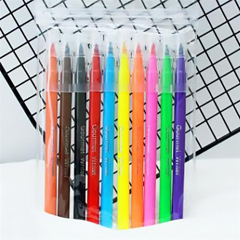 10color Edible Pigment Pen brush Food Coloring Pen For Drawing Biscuits Fondant Cake Decorating Tools Cake DIY draw tool