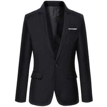 Fashion Men Solid Color Long Sleeve Lapel  Blazer Suit Coat Outwear