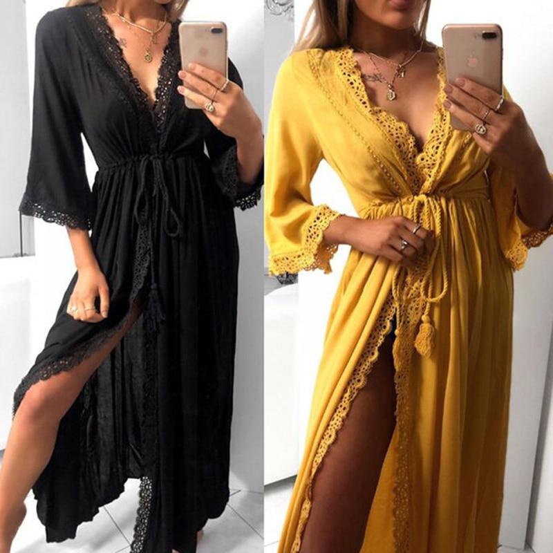 Beach Cardigan Dress Womens Long Robe Soft Hollow Out Lace Tie Up Waist Slim Fit Casual Long Loose Summer Dress Maxi Women Dress
