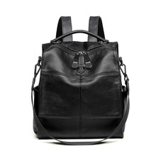 Waterproof women casual backpack black PU soft artificial leather shoulders bag with tote