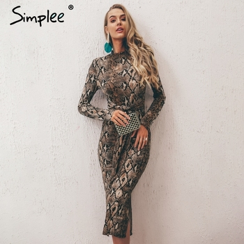 Simplee Sexy snake print women dress Plus size chic long sleeve party dress Elegant slim autumn winter ladies fashion vestidos