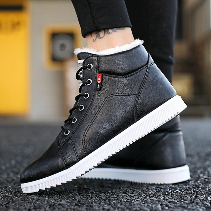 Winter Men's Boots 2019 Winter New Men's Casual High To Help Cotton Shoes Tide Shoes Men's Waterproof Non-slip Warm Snow Boots