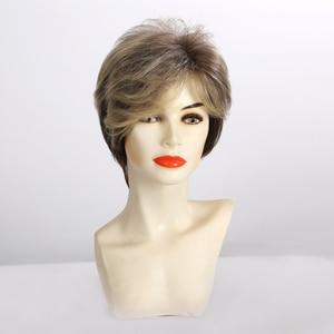 Image 3 - アランイートンオンブルライトブロンド茶黒ショート人工毛のかつらアフロ散髪ふくらんピクシーカットかつら熱にくい