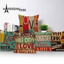 Funda de almohada Vintage de estilo mediterráneo pintada a mano con letras de 45x45cm, funda de cojín, funda de almohada decorativa para el hogar, cama de coche, lino y cerveza
