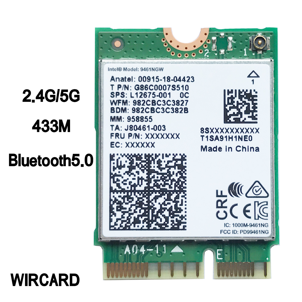 WIRCARD Dual Band Wireless AC 9461 For Intel 9461NGW 802.11ac NGFF Key E 2.4G/5G  WiFi Card Bluetooth 5.0