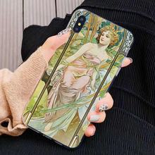 Arte alphonse mucha poster hipster silicone caso de telefone para huawei g7 g8 p7 p8 p9 p10 p20 p30 lite mini pro p inteligente 2017 2018 2019(China)