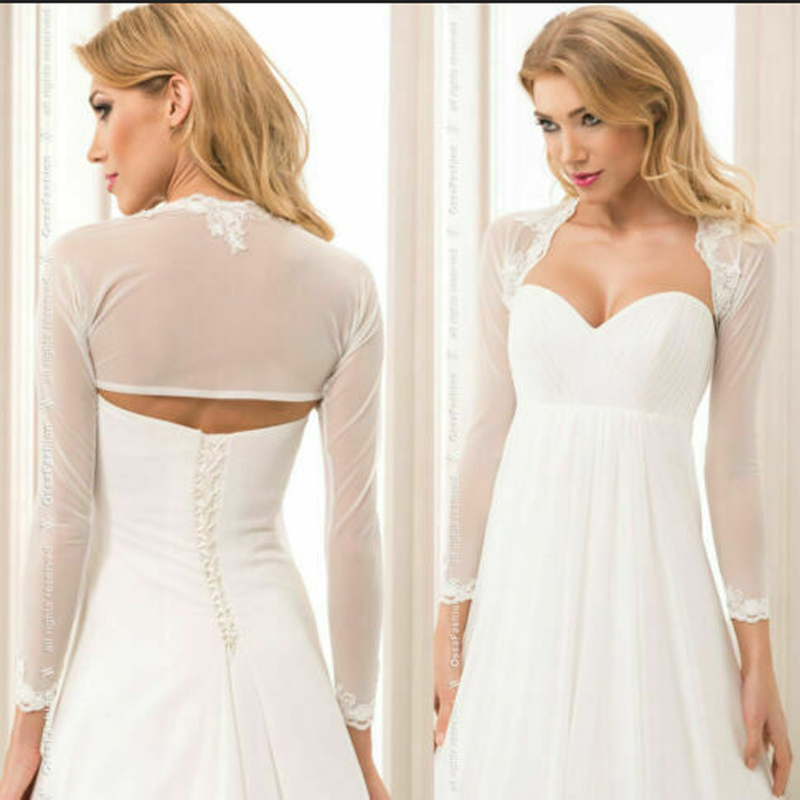 Long Sleeve Wedding Boleros Appliques Bridal Short Top Women Jackets Wrap Shrug Ivory Cape