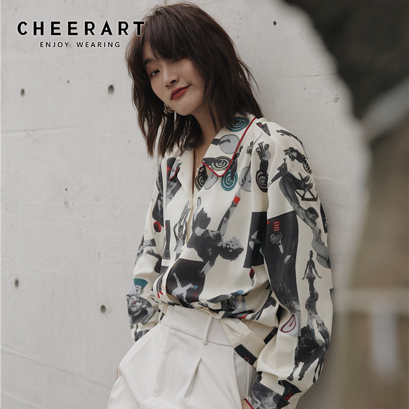 CHEERART Circus Print Vintage Blouse Long Sleeve Button Up Collar Shirt Designer Top Woman Blouses Shirts New Arrival 2019