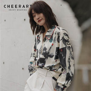 CHEERART Blouses Shirts Button-Up-Collar Long-Sleeve Circus-Print Designer New-Arrival