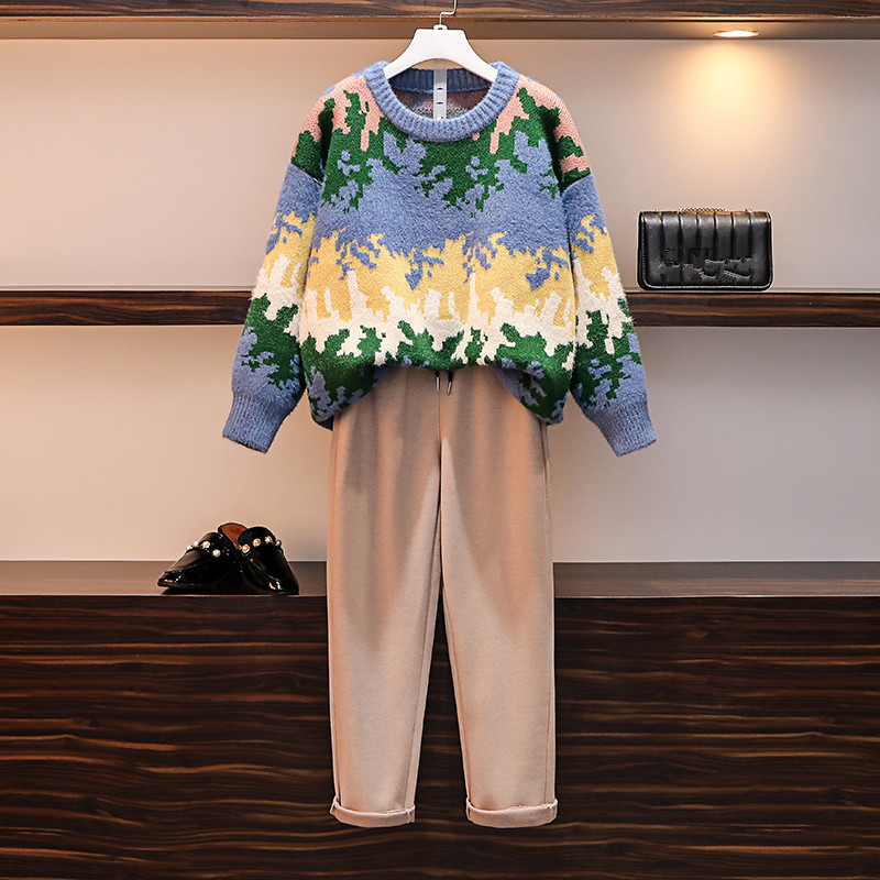 HAMALIEL Women Casual Tracksuits Fall Winter 2 Pant Set Floral Print Knitted Oversize Sweater And Plus Size Woolen Trousers Suit