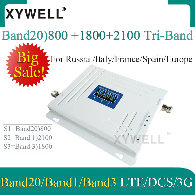 Big Sale!! Band20)LTE 800/2100/1800 Mhz Tri-Band Mobile Signal Booster WCDMA LTE GSM Repeater 2g 3g 4g GSM Cellular Amplifier