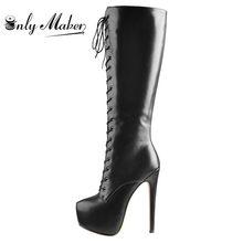 Onlymaker-bottes d'hiver à talons hauts, chaussures à bout rond, plateforme avec fermeture éclair, grande taille, 16cm, pour femmes, à lacets