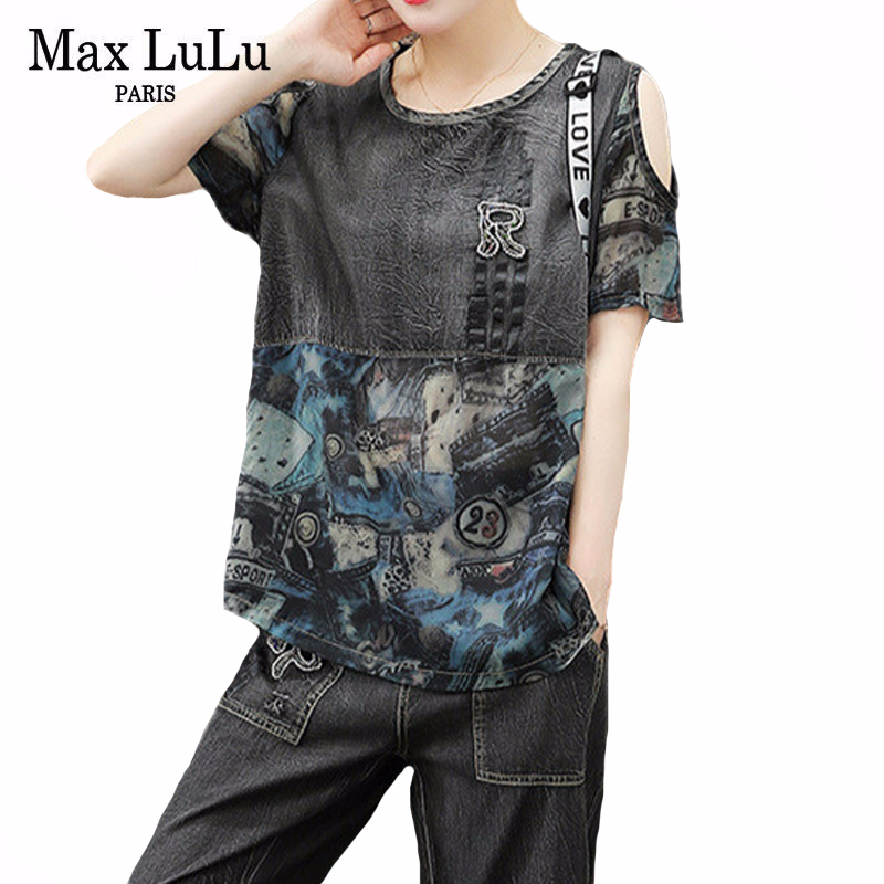 Max LuLu 2020  European Fashion Ladies Denim Patchwork Tops And Pants Women Loose Off Shoulder Suits Oversized Two Pieces Sets