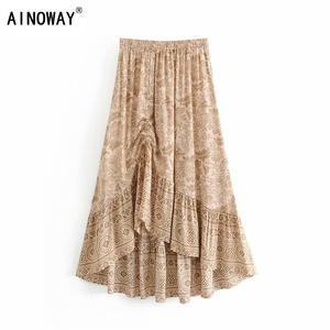 Image 1 - שיק היפי נשים מדבר פרחוני מודפס שרוך אלסטי מותן בוהמי מקסי חצאיות גבירותיי ריון סימטרי boho חצאית