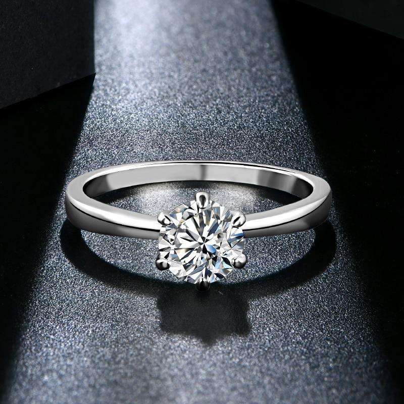 ATTAGEMS 1ct 2ct 3ct Moissanite Ring Round Brilliant Cut Diamond Test Passed Moissanite Diamond Solitaire Rings for Women 4