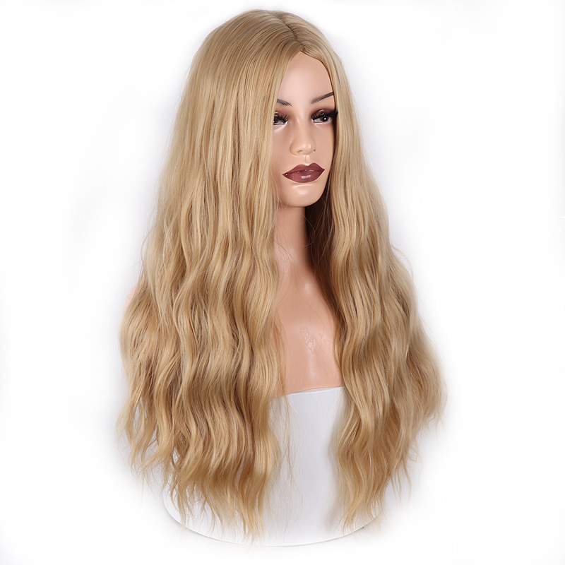 MERISI HAIR Long Wavy Wigs Cosplay For Women 26inches Synthetic Wig Blonde White Fake Hair For Choose 2 Colors Ombre Hair