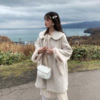 2020 Gentle Lady Doll Collar Plush Coat Wome Winter Warm Purple Milk White Lolita Coat Outwear Female