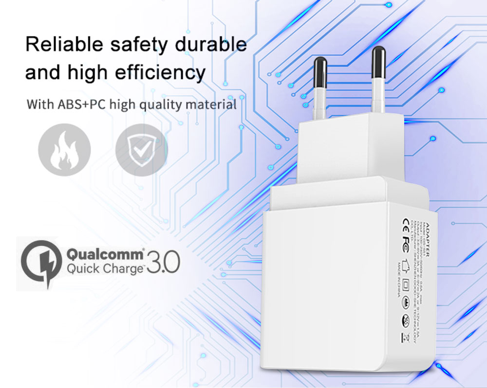 Quick Charge 3.0 18W USB Wall Charger Adapter Smart IC for Samsung S10 S9 Note 9 8 Xiaomi LG HTC Mobile Phone QC3.0 Fast Charger (2)